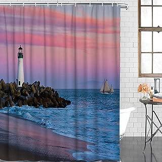 Crystal Emotion Santa Cruz Lighthouse Sunset on Beach Ocean Shower Curtain (66x72, color1)