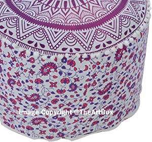 The Art Box Pouf Rond en Coton Indien Fait Main Mandala Pouf Repose-Pieds Ottoman Repose-Pieds 35,6 x 61 cm Environ.