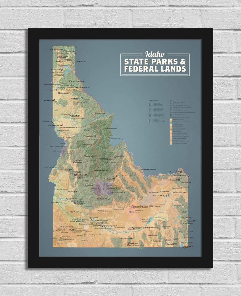 Best New product Maps Ever Idaho State Parks Poste Map Federal Regular dealer 18x24 Lands