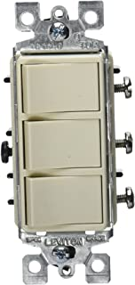Leviton R66-01755-0TS Decora Triple Rocker Combination Switch, Light Almond