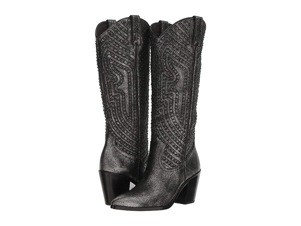 Frye Faye Stud Pull-On (Anthracite Metallic Brush-off) Cowboy Boots