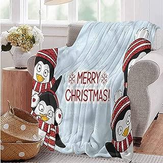 Elxmzwlob Christmas Blankets,Cotton Thermal Blanket,Reversible Blanket,Christmas,Cute Penguins Kids-Premium Breathable Cotton(91