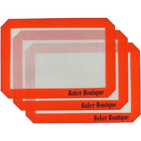 Baker Boutique 3tapis de cuisson en silicone 29,5x 20,3cm Réutilisables Résistant à la chaleur Antiadhésif Tapis de cuisson de qualité professionnelle