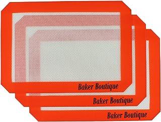 Baker Boutique 3tapis de cuisson en silicone 29,5x 20,3cm Réutilisables Résistant à la chaleur Antiadhésif Tapis de cui...