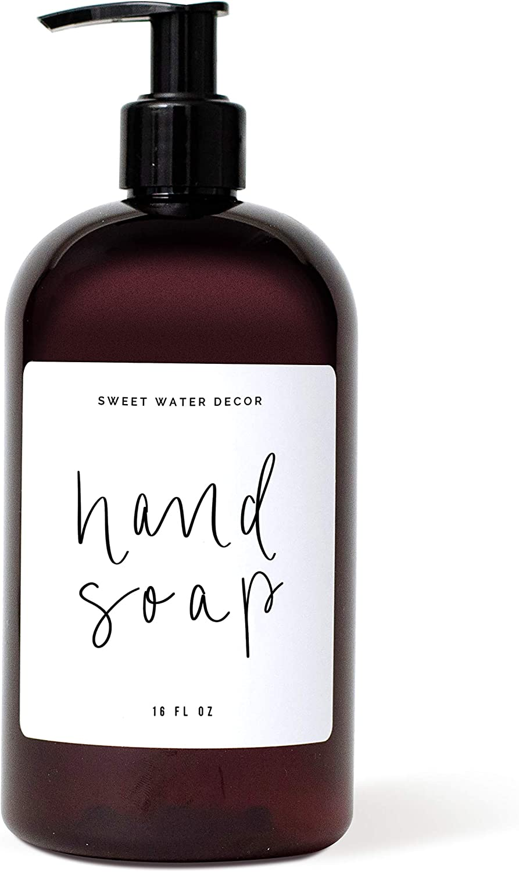 Sweet Water Decor Amber Plastic Refillable Jar Soap Dispensers | Modern Kitchen Hand Soap Dispensers | Soap Bottles | Refill Dispenser…