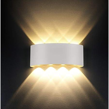 Applique murale LED 8W Warm White 3000k Aluminium moderne pour salon chambre couloir escalier cuisine salle à manger (Blanc Chaud-8w)