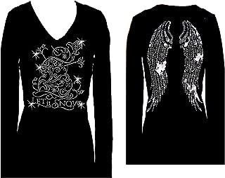 diamante angel wings t shirt