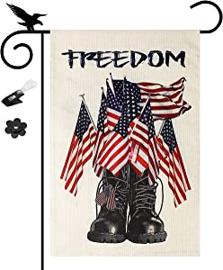 YISUYA Memorial Day Decoration Freedom Boots Garden Flag 12×18 Double Sided 4th of July Garden Flag Patriotic Garden Flag American Independence Day Outdoor Decoration US Garden Flags for Outside