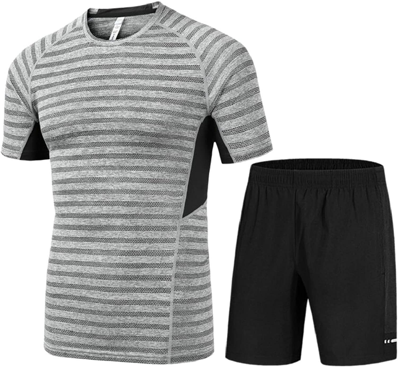 Gocgt Men's 2 Pieces Sports Fitness Quick Drying TShirts + Shorts Light Grey 2XL