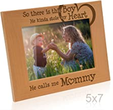 Kate Posh So There is This Boy He Calls me Mommy - Natural Engraved Wood Photo Frame - Mother and Son Gifts, Mother's Day, Best Mom Ever, New Baby, New Mom (5x7-Horizontal)