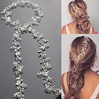 Unicra Bride Long Wedding Hair Vines Crystal Bridal Headpieces Wedding Hair Pieces Accessories for Women and Girls (Silver)