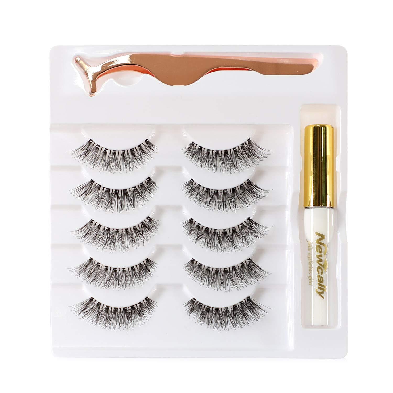 Rare Newcally Natural Wispy Lashes False Eyelashes Pa 5 Glue Set Nippon regular agency with