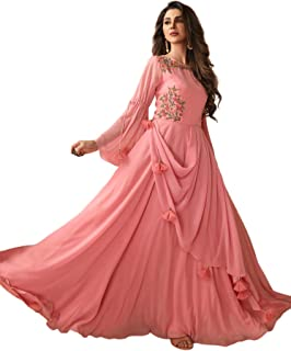 GINOYA BROTHERS - Women's Semi Georgette Embroidery Work Round Neck Long Formal Flowy Cocktail Gown