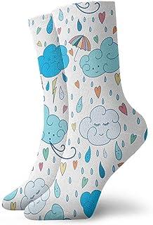tyui7, Calcetines de compresión antideslizantes de nube de lluvia de dibujos animados Calcetines deportivos acogedores de 30 cm para hombres, mujeres y niños
