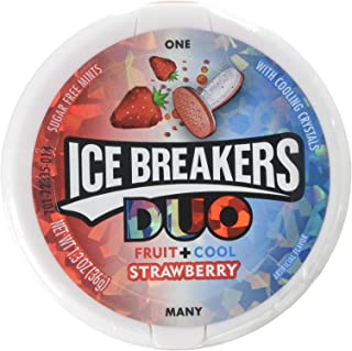ICE BREAKERS Duo Sugar Free Mints, Strawberry, 1.3 Ounce, Pack of 8