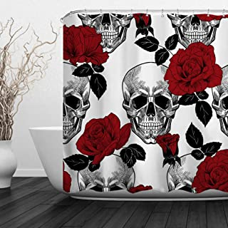 "Baccessor Skulls Shower Curtain Sugar Roes Flowers Skull Skeleton Halloween All Saints Day Black and White Waterproof Bathroom Decor with Hooks,72"" W x 72"" H (180CM x 180CM) - Red Rose Skull"