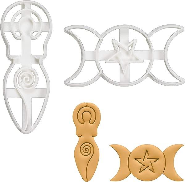 Set Of 2 Goddess Cookie Cutters Designs Triple Goddess And Spiral Goddess 2 Pieces Bakerlogy