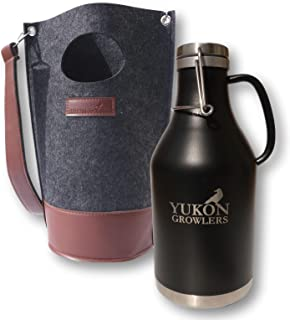 Yukon Growlers Premium Insulated Stainless Steel Growler - Keep Your Beer Cold and Carbonated for 24 Hours in This Double-Walled Vacuum Growler with Swing-Top Lid and Handle for Easy Pouring - 64 oz
