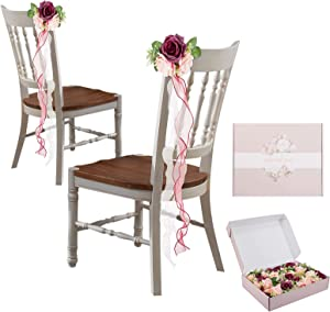 Set of 12 Wedding Aisle Chair Decorations- Artificial Pew Flowers with Organza Tails Church Chair Bench Bows with Silk Ribbon Floral Chair Ornaments for French Rustic Vintage Wedding & Party Favors