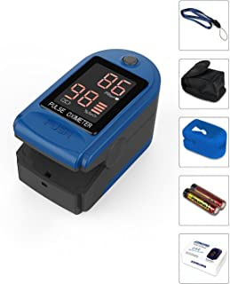 Concord Health Supply EAD Essentials Fingertip Pulse Oximeter Blood Oxygen Saturation SpO2 Monitor, Includes Silicon Cover, Carrying case, Batteries and Lanyard - Blue