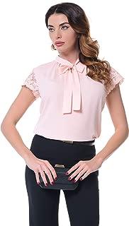 Women's Classic Short Sleeve Bow Self Tie Neck Plain Solid Blouse Shirt