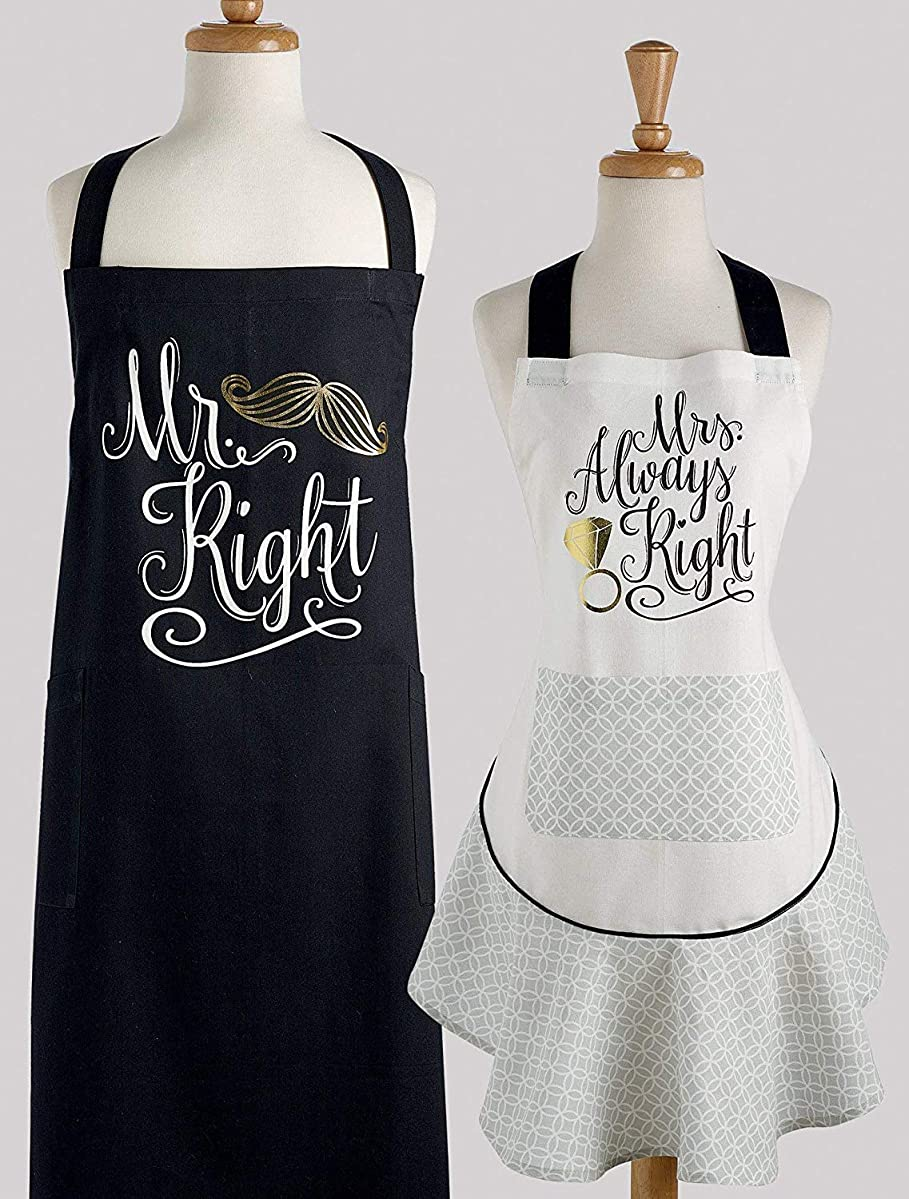 Design Imports DII Wedding Apron Set - Mrs. Always Right Printed Ruffle - Mr. Right Printed Chef