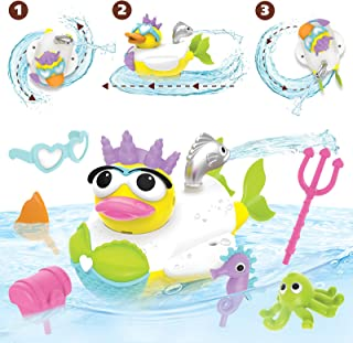 Yookidoo Jet Duck Mermaid Bath Toy with Powered Water Shooter - Sensory Development & Bath Time Fun for Kids - Battery Operated Bath Toy with 15 Pieces - Ages 2+