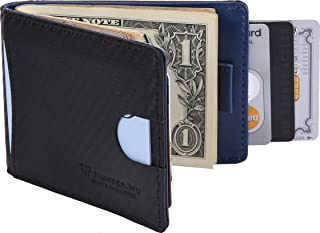Money Clip RFID Blocking Carbon Leather Wallet for Men, Minimalist Slim Bifold Wallet (Blue - Carbon Fiber)