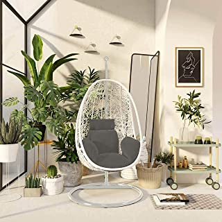 Durable Oval Hanging Chair Olefin Fabric Swing Chair, Max 150 Kg (White)