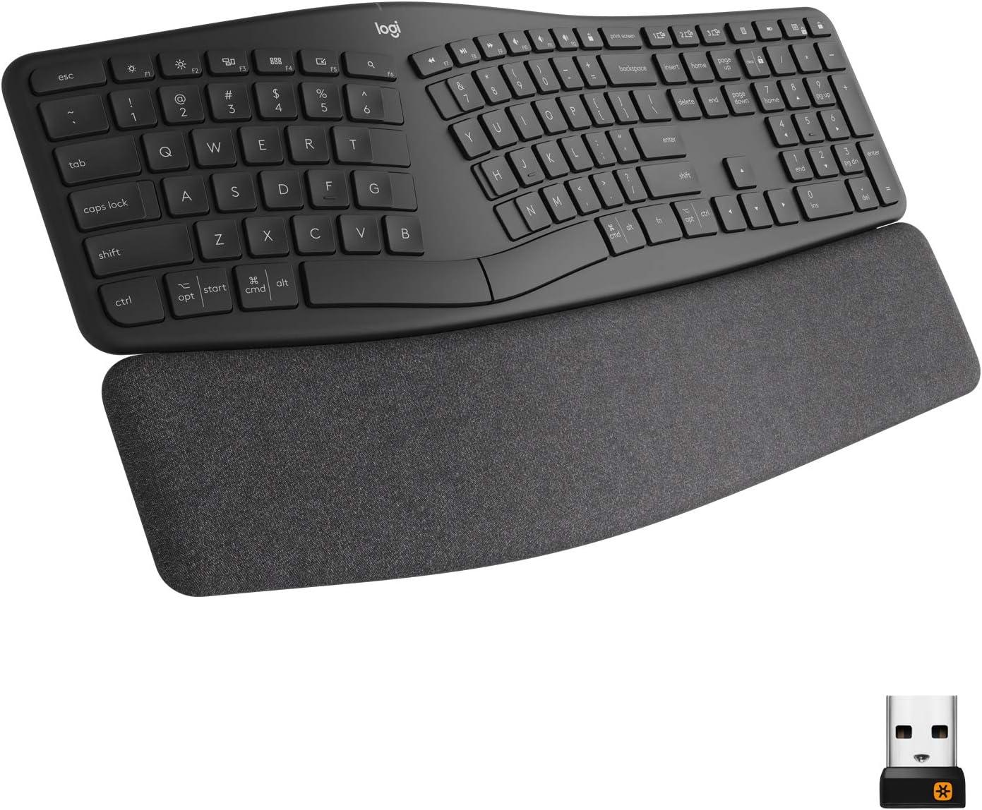 Logitech Ergo K860 Wireless Ergonomic Keyboard with Wrist Rest - Split Keyboard Layout for Windows/Mac, Bluetooth or USB Connectivity