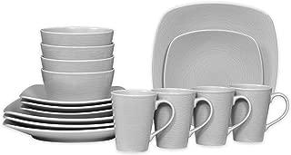 Noritake Grey on Grey Swirl 16-Piece Porcelain Square Dinnerware Set