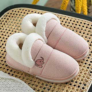 JWWOZ Couple Slippers, Men's Winter Cotton Slippers, All-Inclusive Heels, Wear Non-Slip Soles, Stitching Will Not Unglued Rope, Heavy-Bottomed Non-Slip Indoor Slippers, (Color : F, Size : 39-40)