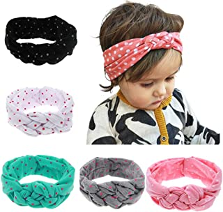 Skudgear Baby Girl's Cotton Spandex Knotted Headbands (Multicolour) - Pack of 5