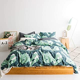 SUSYBAO 3 Pieces Duvet Cover Set 100% Natural Cotton King Size Green Tropical Botanical Print Bedding Set with Zipper Ties 1 Duvet Cover 2 Pillowcases Luxury Quality Soft Breathable Modern Durable