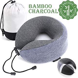 GiiYoon Travel Pillow, Upgraded Bamboo Charcoal Memory Foam Pillow Core, U-Shape Neck Pillow for Airplane Travel, Ergonomic Design can 360° Support Head,Neck and Chin, Soft and Comfortable (Blue)