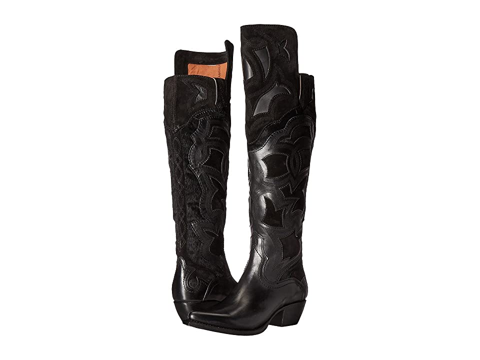 Frye Shane Embroidered Cuff (Black Smooth Veg Calf/Oiled Suede/Haircalf) Cowboy Boots