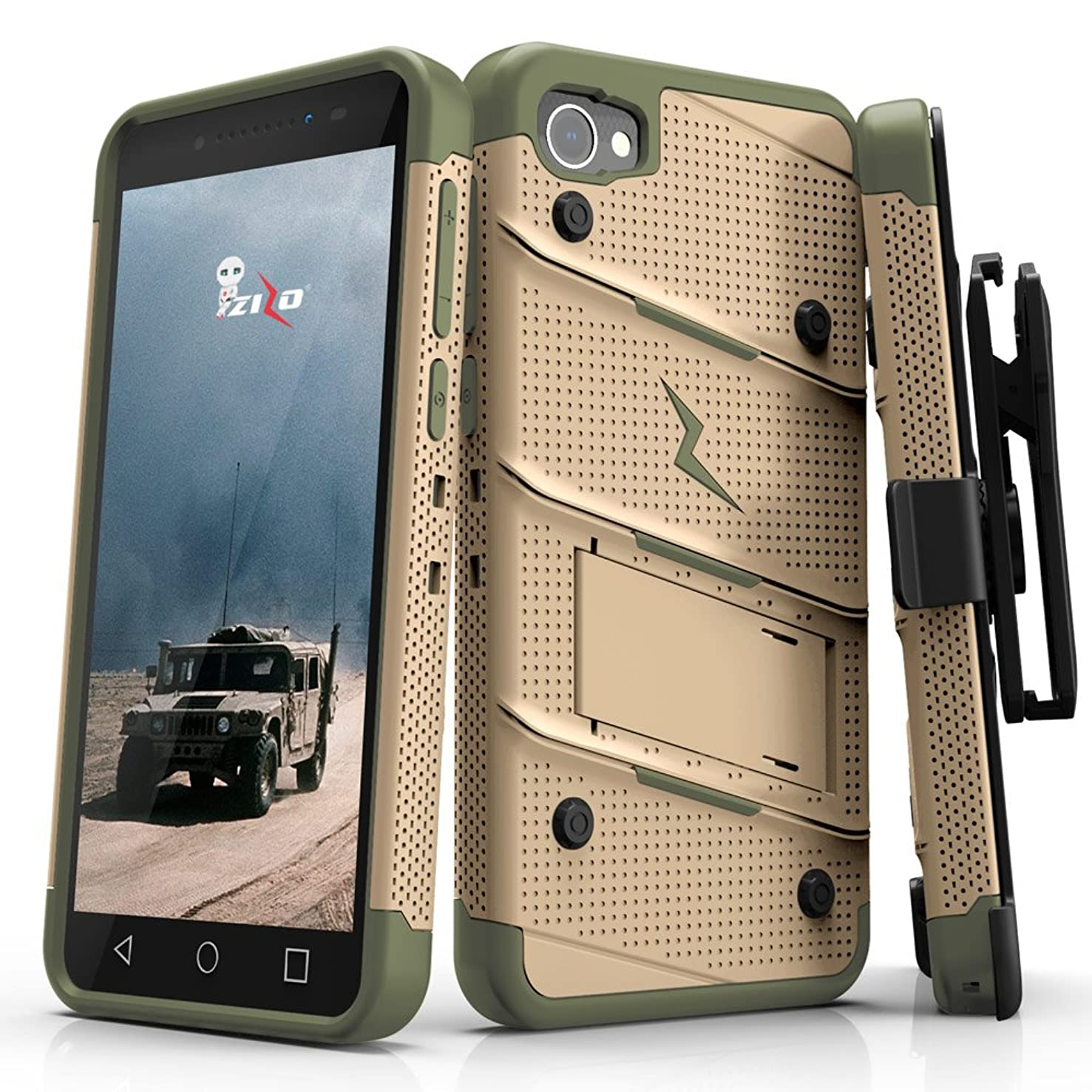 Zizo Bolt Series Alcatel Idol 5 Case - Tempered Glass Screen Protector with Holster and 12ft Military Grade Drop Tested (Desert Tan & Camo Green)