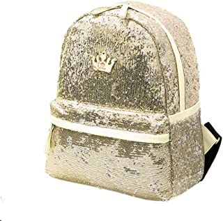 Aspire Sequins Backpack with Crown Design, Shiny Glitter School Backpack-Golden