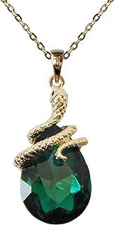 Navachi - Collanina con pendente a forma di serpente placcato oro 18K con zircone a pera, 40,6cm + 5,1cm