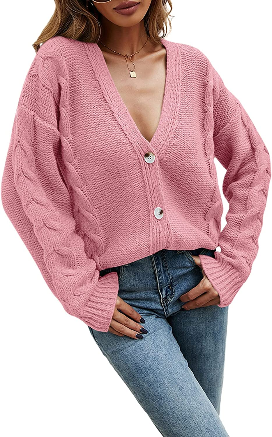 Women's Button V Neck Open Front Cardigan Sweater Chunky Cable Knit Long Sleeve Kimono Cardigan Outerwear Coat