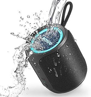 SOWO Bluetooth スピーカー 防水 IPX7 小型 お風呂 ワイヤレススピーカー ポータブルすぴーかー ブルートゥース 【360°サウンド 重低音/高音質/大音量/おしゃれ Led ライト/マイク内蔵/USB-C急速充電】(ブラック)