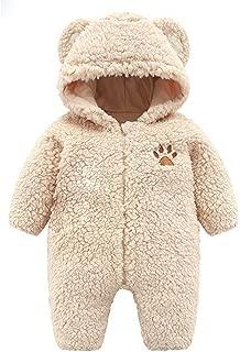 Newborn Baby Boy Girl Cartoon Bear Snowsuit Playsuit Infant Winter Warm Fleece Hoodie Jumpsuit Romper