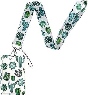 Geiomoo Lanière avec Porte-Carte, Courroie de Cou avec Badge pour Clés, Cartes D'identité, Bureau (Cactus)