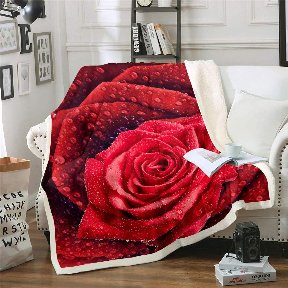 Brand new Erosebridal Rose Flower Plush Beauty products Bed Blanket Women for Fl Romantic