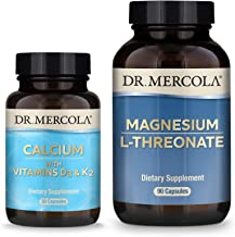 Dr. Mercola Calcium D3 & K2 and Magnesium L-Threonate Pack (30 Servings), Supports Bone and Cardiovascular Health, Non GMO...