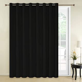 Deconovo Wide Width Curtain Blackout Curtains 1 Panel Room Darkening Blinds Grommet Thermal Insulatd Curtain for Nursery 100x95 Inch Black 1 Panel