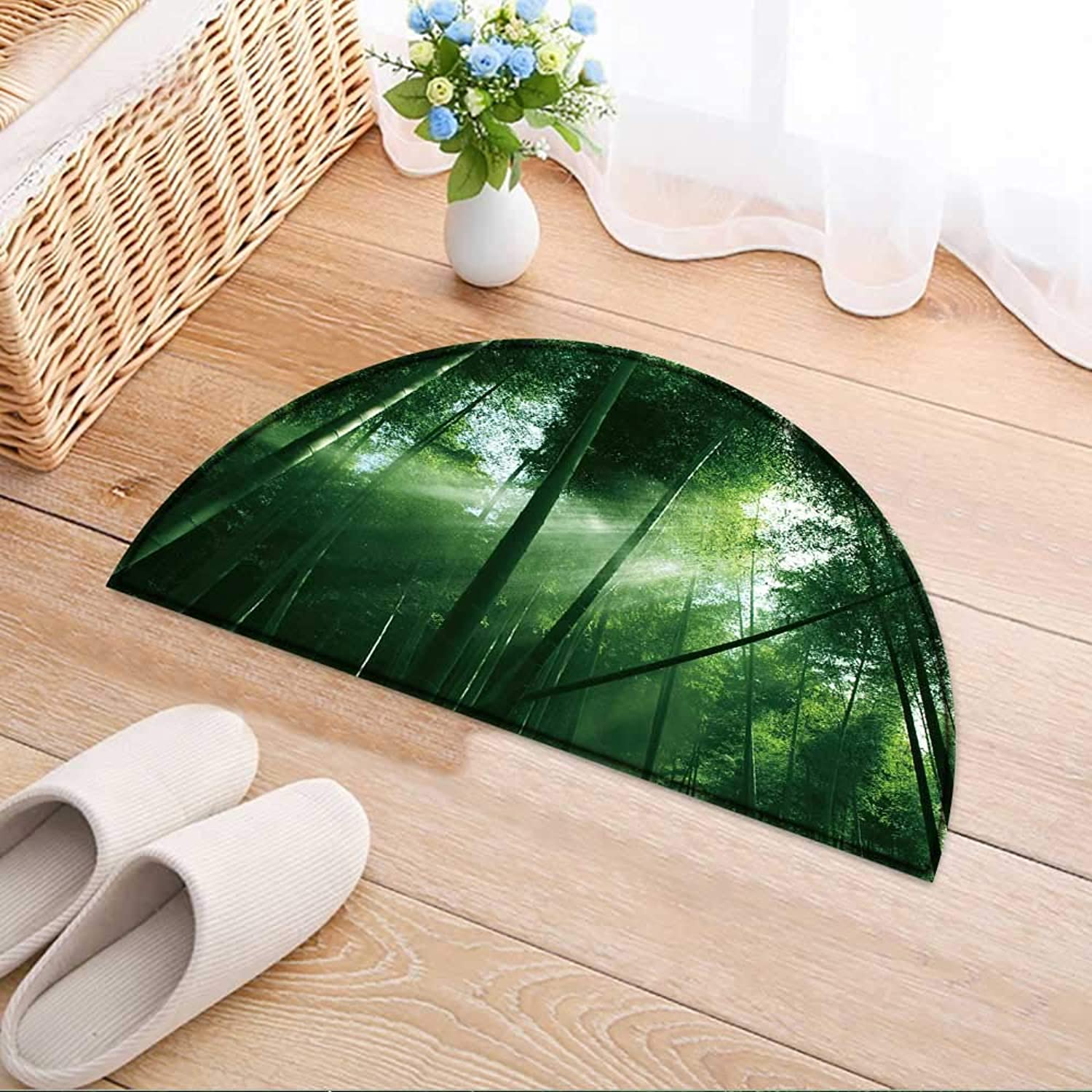 Semicircle Rug Kid Carpet The Flourish Bamboo Forest with Glorious Morning Sunshine. Home Decor Foor Carpe W39 x H28 INCH