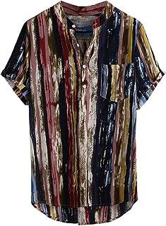 Camisetas Hombre Manga Corta Baratas SHOBDW 2020 Sólido Cuello Mao Camisa Lino Hombre Casual Moda Blusa Slim Fit Tops Homb...
