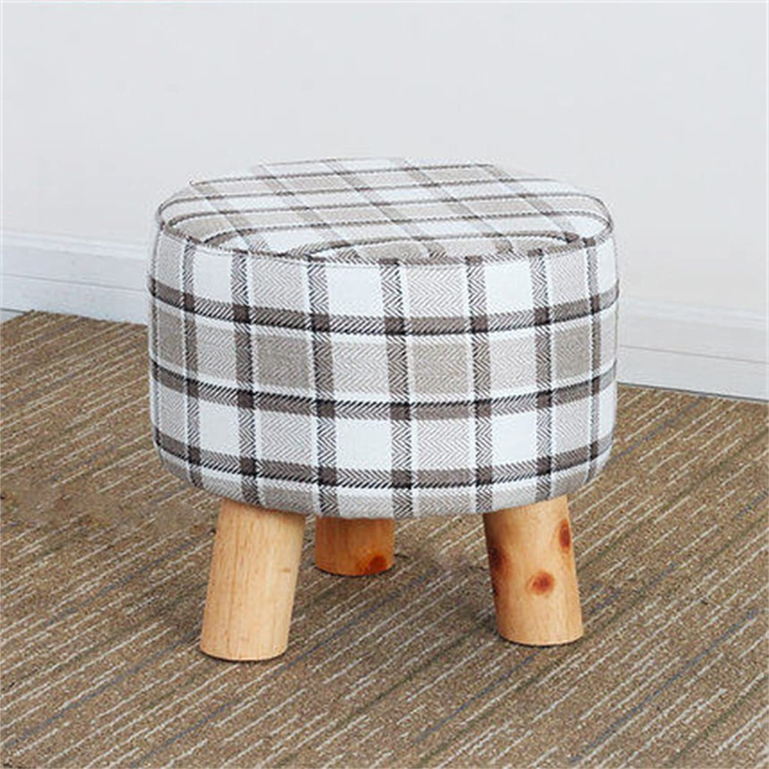 AIDELAI Bar Stool Chair- Solid Wood Change shoes Stool Footstool Test shoes Stool Round Upholstered Footstools 4 Wood Leg Pouffes Stool Fabric Cover Saddle Seat (color     3)