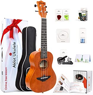 AKLOT Low G Ukulele Concert Solid Mahogany 23 Inch Ukelele with Gig Bag,Tuner,Strap, String, Picks, Manual, Cleaning Cloth...